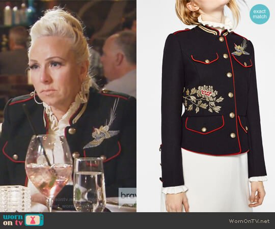 Black Jacket with Embroidery by Zara worn by Margaret Josephs (Margaret Josephs) on The Real Housewives of New Jersey