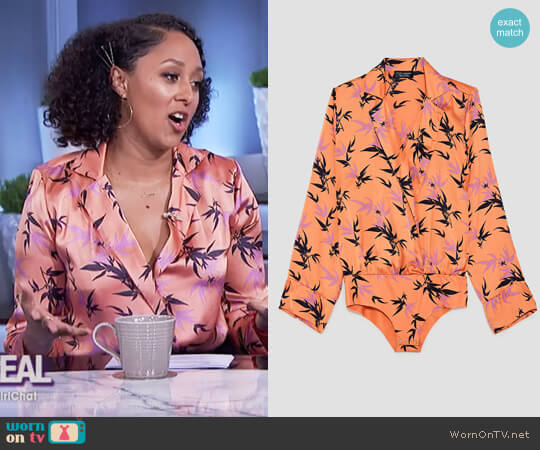 Leaf Print Bodysuit by Zara worn by Tamera Mowry on The Real