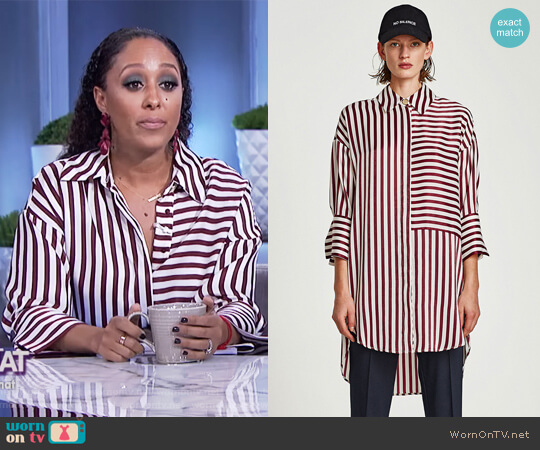 Sateen Shirt Dress by Zara worn by Tamera Mowry on The Real