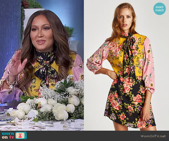 Floral Patchwork Dress by Zara worn by Adrienne Houghton  on The Real