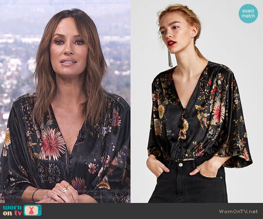 Floral Velvet Bodysuit by Zara worn by Catt Sadler on E! News