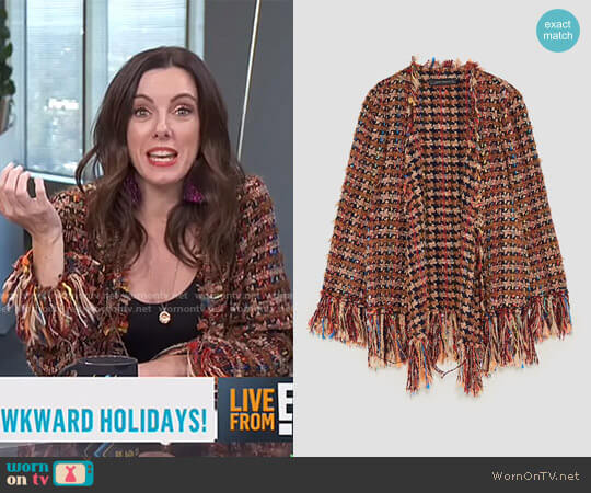 Frayed Jacket by Zara worn by Melanie Bromley  on E! News