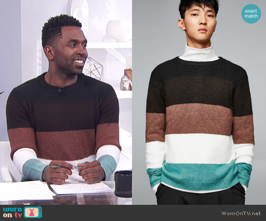 Soft Paneled Sweater by Zara worn by Justin Sylvester (Justin Sylvester) on E! News