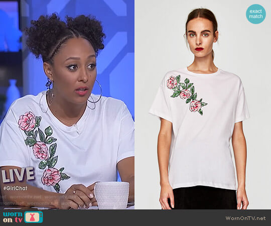T-Shirt with Sequined Floral Motif by Zara worn by Tamera Mowry (Tamera Mowry) on The Real