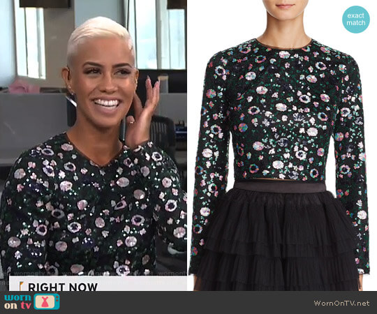 Sequined Cropped Top by Zendaya x Aqua worn by Sibley Scoles on E! News