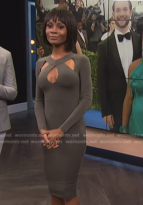 Zuri's green cutout dress on E! News