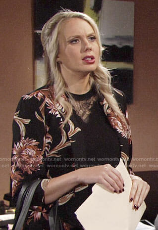 Abby's black floral blazer on The Young and the Restless