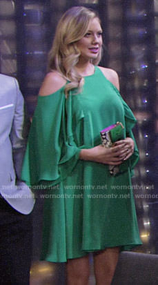 Abby's green cold-shoulder dress on The Young and the Restless