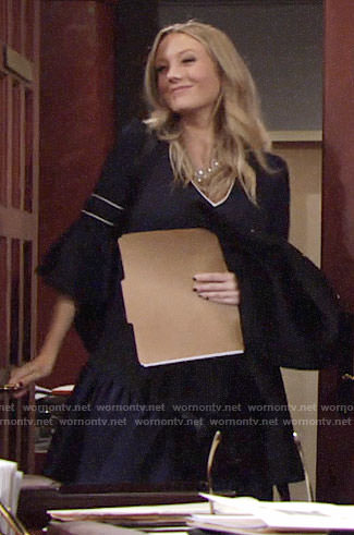 Abby's navy bell sleeve dress on The Young and the Restless