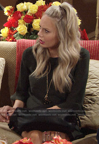 Abby's dark green Thanksgiving dress on The Young and the Restless