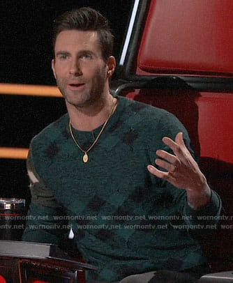Adam Levine's green checked sweater on The Voice