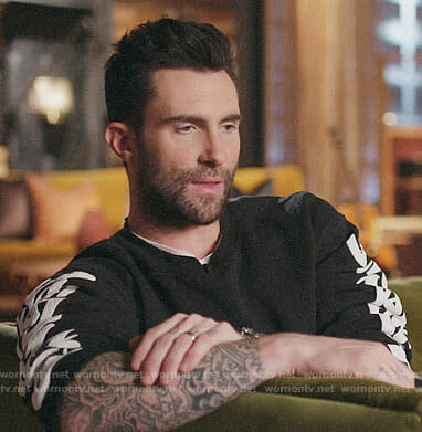 Adam Levine's black sweatshirt with printed sleeves on The Voice