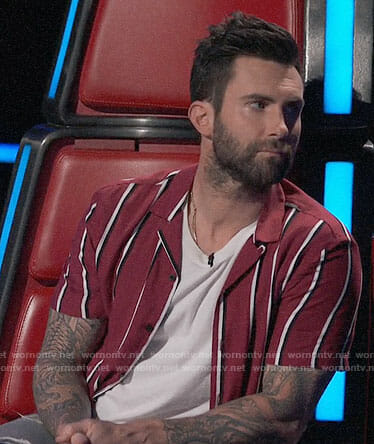 Adam Levine's red striped shirt on The Voice