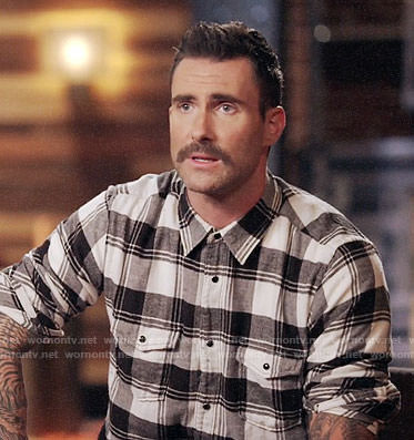 Adam Levine's black and white plaid shirt on The Voice