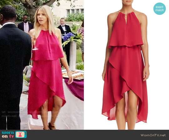 Adrianna Papell Necklace-Halter Ruffled High/Low Dress worn by Mackenzie Murphy (Kaitlin Olson) on The Mick