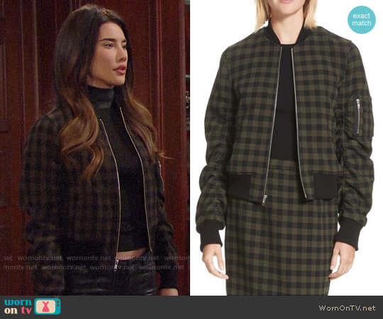 ALC Andrew Checked Bomber Jacket worn by Steffy Forrester (Jacqueline MacInnes Wood) on The Bold & the Beautiful