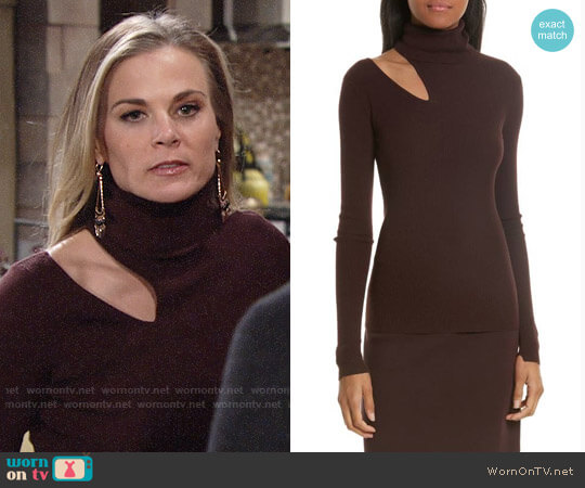 ALC Kara Sweater in Raisin worn by Gina Tognoni on The Young & the Restless