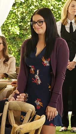 Alex's navy flower print dress on Modern Family