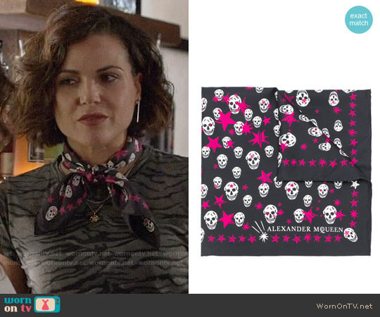 Alexander McQueen Skull and Scarf Print Scarf worn by Regina Mills (Lana Parrilla) on OUAT