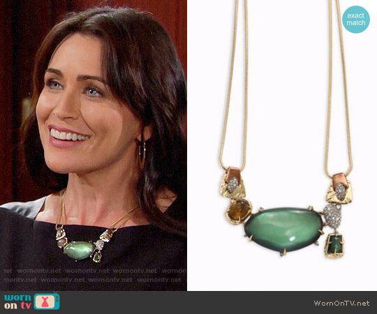 Alexis Bittar Lucite Stone Bib Buckle-Detail Necklace worn by Quinn Fuller (Rena Sofer) on The Bold & the Beautiful