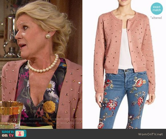 Alice + Olivia Rhuty Rhinestone Cardigan worn by Pamela Douglas (Alley Mills) on The Bold & the Beautiful