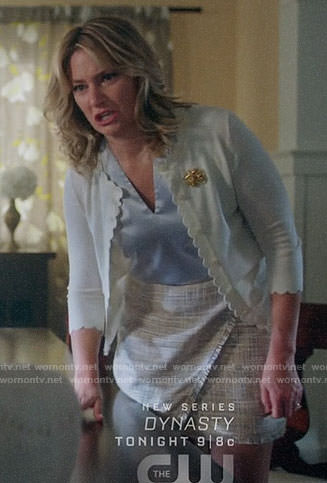 Alice's white scalloped trim cardigan on Riverdale