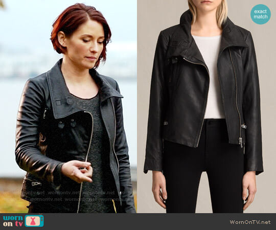 All Saints Bales Leather Biker Jacket worn by Alex Danvers on Legends of Tomorrow