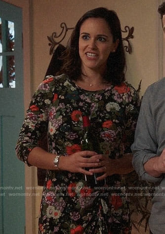 Amy's floral Thanksgiving dress on Brooklyn Nine-Nine