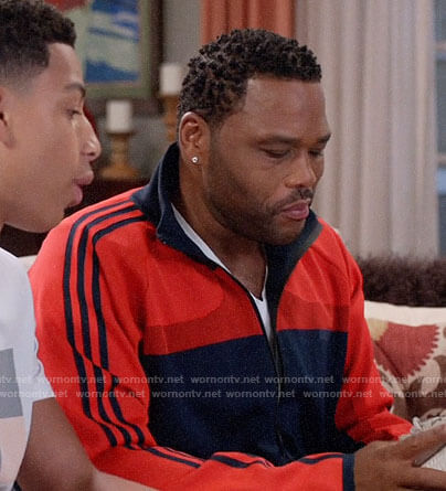 Andre's red and navy track jacket on Black-ish