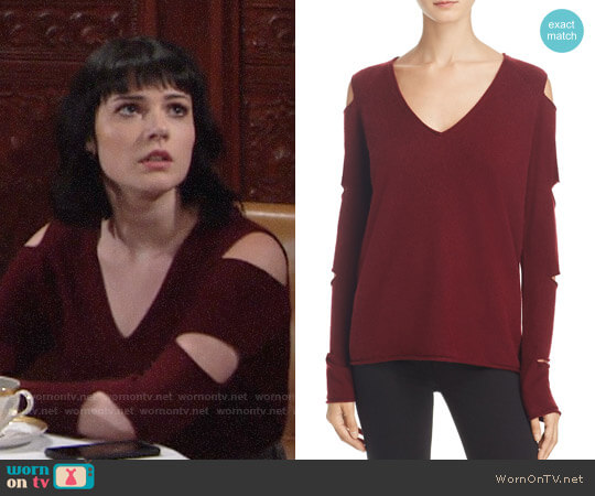 Aqua Cashmere V-Neck Slash-Arm Sweater in Heather Burgundy worn by Cait Fairbanks on The Young & the Restless