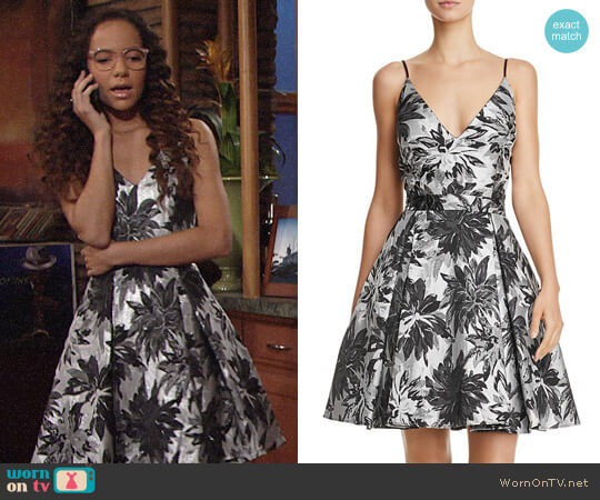 Aqua Jacquard Fit-and-Flare Dress worn by Lexie Stevenson on The Young & the Restless