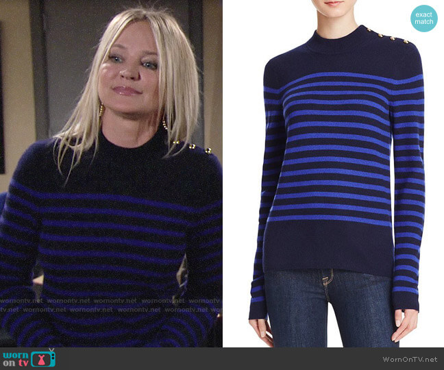 Aqua Stripe Mock Neck Cashmere Sweater worn by Sharon Collins (Sharon Case) on The Young & the Restless