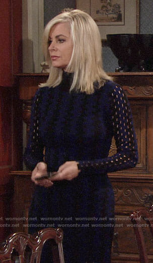 Ashley's black and blue sweater dress on The Young and the Restless