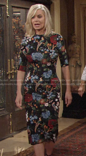 Ashley's floral Thanksgiving dress on The Young and the Restless