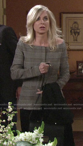 Ashley's plaid off-shoulder jacket on The Young and the Restless