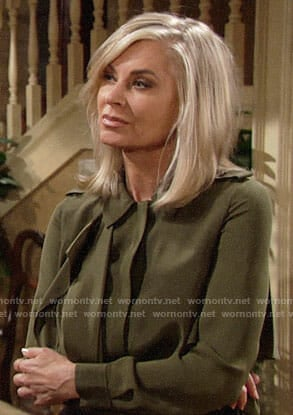 Ashley's green ruffle blouse on The Young and the Restless