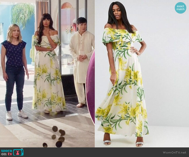 ASOS Floral Bardot Maxi Dress worn by Tahani Al-Jamil (Jameela Jamil) on The Good Place