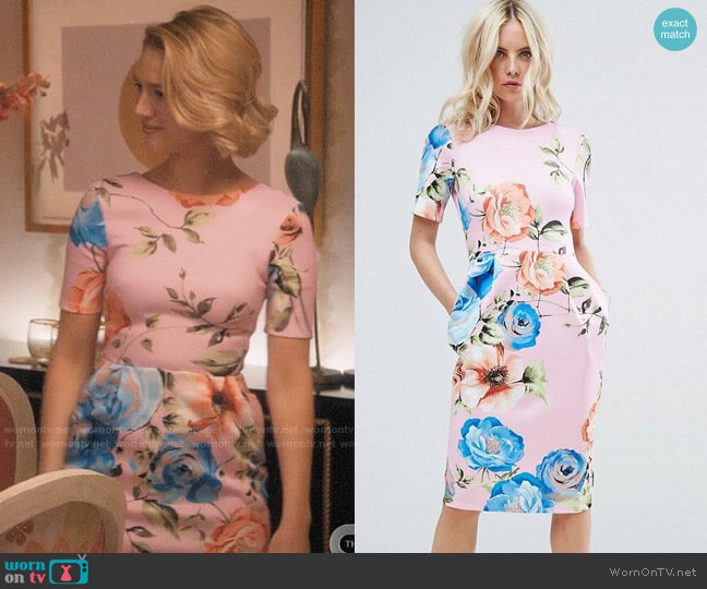 ASOS Midi Wiggle Dress In Pink Floral Print worn by Petra Solano (Yael Grobglas) on Jane the Virgin