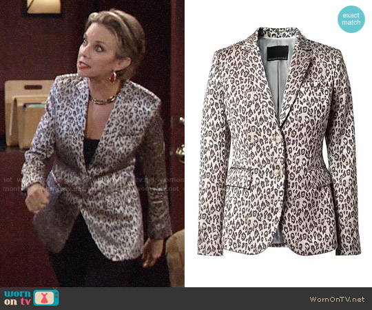 Banana Republic Long and Lean-Fit Leopard-Print Blazer worn by Gloria Abbott Bardwell (Judith Chapman) on The Young & the Restless