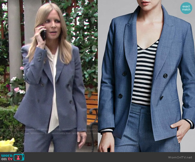 Banana Republic Double Breasted Fit Blazer worn by Christine Blair Williams (Lauralee Bell) on The Young & the Restless