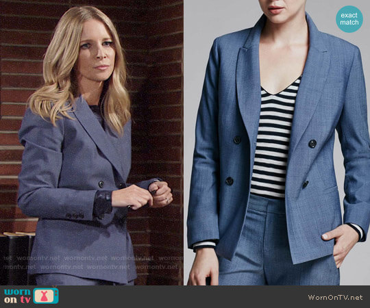 Banana Republic Double Breasted Fit Blazer worn by Lauralee Bell on The Young & the Restless
