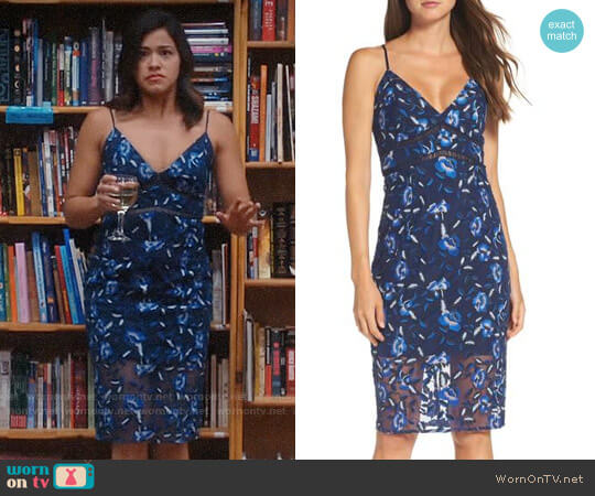 Bardot Sapphire Dress worn by Jane Villanueva (Gina Rodriguez) on Jane the Virgin