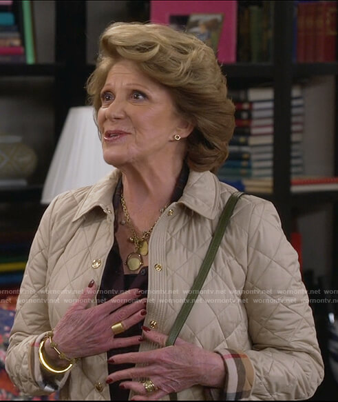 Judy's beige quilt patterned jacket on 9JKL