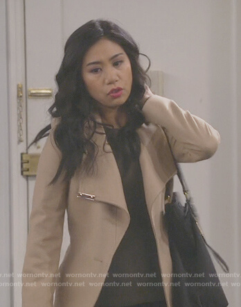 Eve's beige waist tie coat on 9JKL