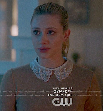 Betty's grey sweater with embellished collar on Riverdale
