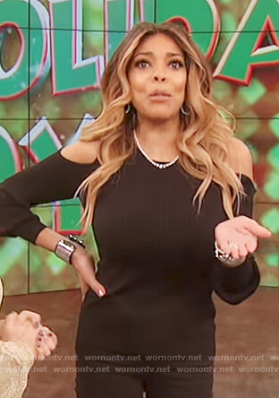 Wendy's black cold shoulder sweater on The Wendy Williams Show