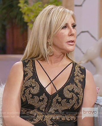 Vicki's black and gold sleeveless dress on The Real Housewives of OC