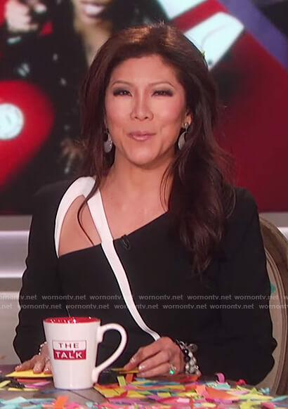 Julie's black and white asymmetric neckline dress on The Talk