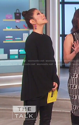 Julie's black bell sleeve mini dress on The Talk
