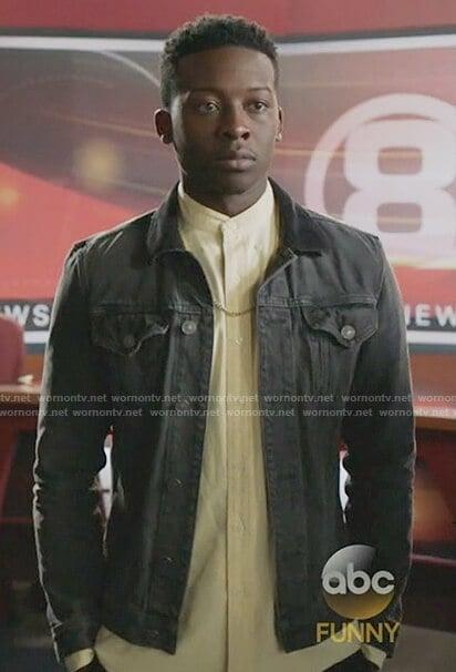 Courtney's black denim jacket on The Mayor